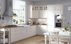 IKEA has brought back the traditional kitchen style with METOD. And, we expect IKEA will do the same for its American twin, SEKTION. Ikea Bodbyn Kitchen, Kitchen Cabinets Uk, Ikea Kitchen Storage, White Ikea Kitchen, White Kitchen Backsplash, Ikea Kitchen Design, Kitchen Cabinet Doors, Kitchen Furniture, Kitchen Decor
