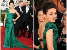 beautiful emerald dress on Mila