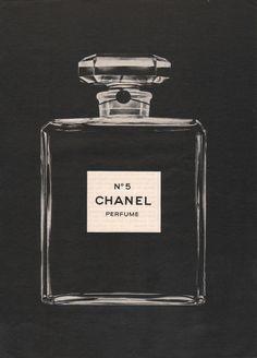 CHANEL No. 5 Perfume Bottle Black Photo Ad Vintage by StillsofTime