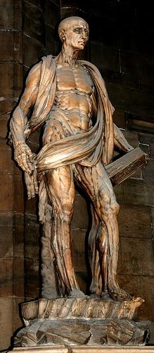 Statue of Bartholomew, now the patron saint of tanners, usually depicted with a large knife and holding his own skin.