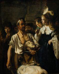 Rembrandt - De Onthoofding Van Johannes De Doper  Rembrandt Harmenszoon van Rijn (Leiden, 15 juli 1606 of 1607[1] – Amsterdam, 4 oktober 1669) was een Nederlands kunstschilder; hij wordt beschouwd als een van de belangrijkste Hollandse meesters van de 17e eeuw. Rembrandt vervaardigde in totaal ongeveer driehonderd schilderijen, driehonderd etsen en tweeduizend tekeningen.