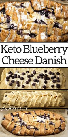 Braided Blueberry Cheese Danish - Low Carb, Keto, THM S - This Keto Blueberry Cheese Danish has a golden dough, a ton of cream cheese filling, & pops of blue - Healthy Low Carb Recipes, Low Carb Dinner Recipes, Fun Easy Recipes, Low Carb Desserts, Low Carb Keto, Cooking Recipes, Thm Recipes, Keto Foods, Pastry Recipes
