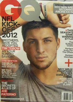 Tim Tebow on the September cover of GQ Whew! Hot! Hot! Hot!