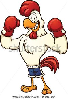 Clip art of a boxing chicken. Vector cartoon illustration with simple gradients. All in a single layer.  - stock vector