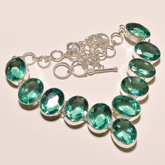 """94 GMS AWSOME FACETED GREEN APATITE GEMSTONE .925 SILVER NECKLACE 18""""  #Handmade #Pendant"""