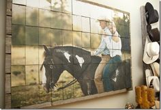 Love this western mosaic. Cut a picture into small squares and nail the squares to old barn wood. Next DIY project? | Stylish Western Home Decorating