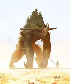 Leonid Enin Concept Art and Illustration. Giant Monster, or civilization upon it's back. Traveing/Fighting army