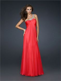 One shoulder Layered Pleated Bust Beaded on Strap Open Back Chiffon Prom Dress PD10849 www.dresseshouse.co.uk £108.0000