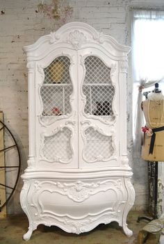 Painted Cottage Chic Shabby White Vintage by paintedcottages, $1495.00