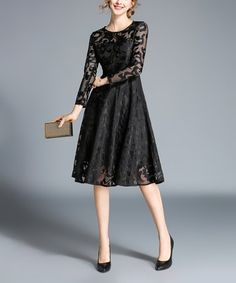 b27f897d4f9f Another great find on  zulily! Black Floral Lace Overlay A-Line Dress -