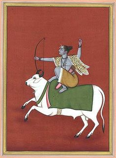 Shiva the Archer on Nandi, Hindu Watercolor on PaperArtist: Kailash Raj