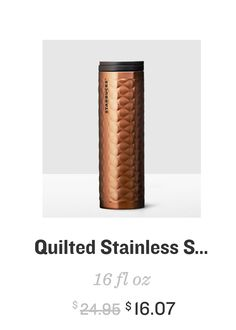 starbucks quilted stainless steel tumbler (in copper)