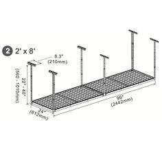 "Amazon.com: FLEXIMOUNTS 2x8 (4x4) Overhead Garage Storage Rack Adjustable Ceiling Storage Rack, 48"" Length x 48"" Width x 40"" Height (Black): Home & Kitchen"