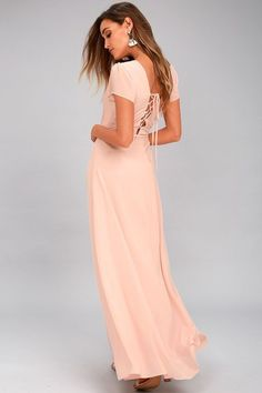 Everything is looking up in the World on a String Blush Lace-Up Maxi Dress! Lovely chiffon shapes a plunging surplice bodice and wrapping maxi skirt. Spring Bridesmaid Dresses, Best Maxi Dresses, Affordable Bridesmaid Dresses, Sexy Maxi Dress, Dresses For Less, Sexy Dresses, Formal Dresses, Bridesmaids, Ladies Dresses