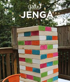 DIY giant wooden Jenga (& other party hacks) Outdoor Party Games, Outdoor Games For Kids, Backyard Games, Outdoor Fun, Outdoor Jenga, Lawn Games, Yard Jenga, Outdoor Parties, Outdoor Entertaining