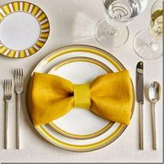 Make this bow tie napkin fold! 20 plus napkin folding styles.
