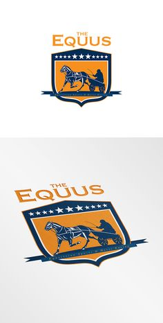 The Equus Horse Racing Logo. Logo showing illustration of a horse and jockey harness racing set inside shield crest with stars on isolated background done in retro style. 100% re-sizeable