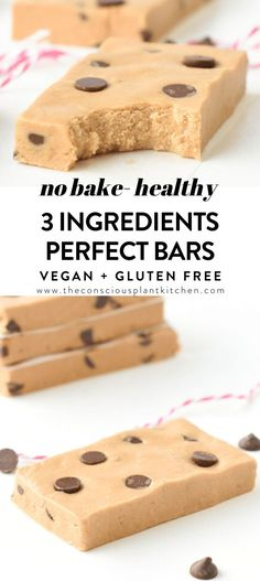 Perfect Bar No-bake, 3 ingredients, Copycat Vegan Homemade Protein Bars cookie dough flavor, easy, healthy #veganproteinbars #perfectbars #peanutbutter #cookiedough #chocolate #vegan #easy #healthy #proteinsnack Best Vegan Protein, Healthy Protein Bars, Peanut Butter Protein Bars, Protein Bar Recipes, Coconut Peanut Butter, Healthy Vegan Snacks, Protein Snacks, Snack Recipes, Vegan Recipes