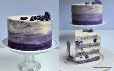 Tort cu afine și ciocolată albă, în degrade - tort ombre sau gradient. Cum se face un tort în degrade fără coloranți artificiali? Blat de Something Sweet, Lidl, Tiramisu, Panna Cotta, Caramel, Easy Meals, Cream, Cake, Ethnic Recipes