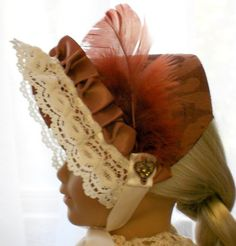 American Girl - Doll Clothes - Hats - 1800's Dress Bonnet in Deep Copper and Cream