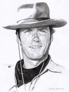Portrait of Clint Eastwood by Henstepbatbot on Stars Portraits, the biggest online gallery for celebrity portraits. Old Man Pictures, Pictures To Draw, Celebrity Drawings, Celebrity Portraits, Portrait Photo, Portrait Art, Clint Eastwood Poster, Drawing Ideas List, Old Man Face