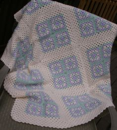 Baby Blanket - Granny Squares in Lilac, Mint Green and Cream …