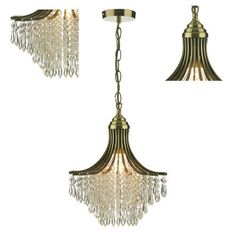 Ceiling Crystal Chandelier Light Lighting Antique Brass Glass Metal Droplets New