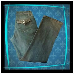 """Baccini Blinged out Jeans sz 8 (stretch) Great pair of embellished jeans.  Great pre~loved condition!  Very lightly worn like new.  Waist 34""""  Rise 9 1/4"""" Inseam 32"""" 80% Cotton  18% poly  2%Spandex Baccini Jeans Straight Leg"""