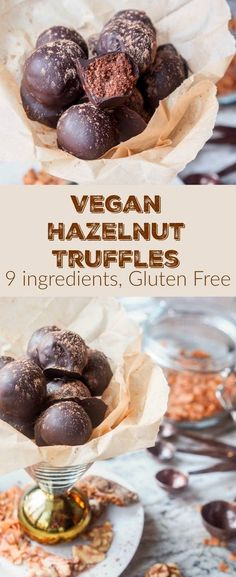 9 ingredient 100 calorie vegan hazelnut truffles with toasted coconut figs and walnuts all pulsed together in the food processor before being dipped in melted dark chocolate. The ultimate guilt free dessert. Vegan Sweets, Vegan Desserts, Dessert Recipes, Vegan Recipes, Snacks Recipes, Dessert Food, Dog Recipes, Vegan Snacks, Vegan Food