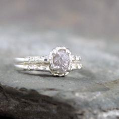 Matching Engagement Ring and Wedding Band - Rough Diamond Rings - Raw Diamond Wedding Set - Antique Filigree Style - Wedding Rings on Etsy, $420.00