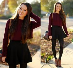 33f Burgundy Crop Top, Romwe Black Circle Skirt, Aldo Macullumm Booties