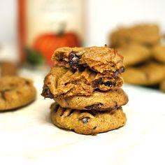 Choc chip Pumpkin Cookies (Vegan, grain free): almond butter, pumpkin, maple syrup, pumpkin pie spice, vanilla, choc chips