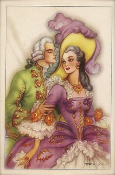 Lot of 2 Original Vintage 1950s Spanish Postcards Romantic Glamour Baroque Couples of Lovers in Fancy Costumes Illustrated by Emilio Freixas