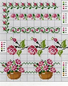 Cross stitch pattern, roses border for small bag. Cross Stitch Borders, Cross Stitch Rose, Cross Stitch Flowers, Cross Stitch Charts, Cross Stitch Designs, Cross Stitching, Cross Stitch Embroidery, Embroidery Patterns, Cross Stitch Patterns