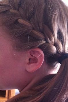 Did my hair again!!!! French braid into a side ponytail