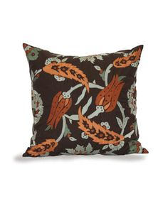 Bliss Studio Greta Tulips Pillow - Combining a classic Persian paisley with the color scheme of rust orange and aqua turquoise #BlissStudio #BlissHomeandDesign