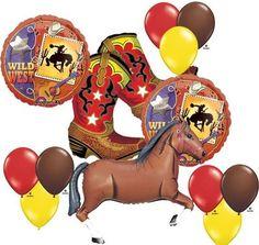 Wild West Horse Cowboy Boots Country Western Balloon Mylar Latex Set Birthday