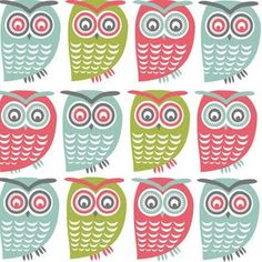 Simple, unibrow owls with a very soft colour palette.