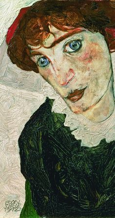 Painting by Egon Schiele, 1912, (detail) Portrait of Wally Neuzil.