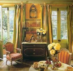 The French Quarter of New Orleans with its typical silk curtains and antique furniture.