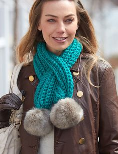 Yarnspirations.com - Bernat Pull-Through Pompom Scarf - Patterns  | Yarnspirations