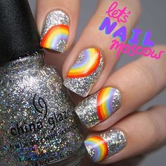 """@letsnailmoscow just nailed this tiny rainbow holo glitter extra sparkly to die for China Glaze 'Nova' mani! ✨🌈✨ Our Wednesday just got a little brighter!"""