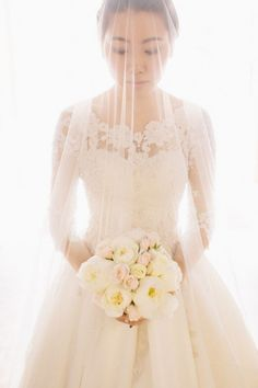 lace pearl wedding dress with 3/4 sleeve length