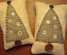 Pair Tiny Primitive Original Fabric Folk Art Christmas Tree Pillows on Vintage Quilt Piece.