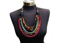 African style women recycle fabric necklaceethnic por yvettestudio, $28,00
