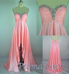Cute high-low pink chiffon homecoming/prom dress #promdress #homecoming #coniefox #2016prom