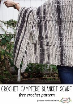 Crochet this easy campfire blanket scarf by Two of Wands from my best blogger free patterns from 2017 roundup!