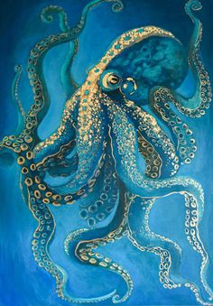Original Animal Painting by Monika Przerwa-tetmajer Octopus Painting, Octopus Drawing, Octopus Art, How To Draw Octopus, Acrylic Painting Animals, Jellyfish Painting, Underwater Painting, Octopus Tattoos, Art Deco Paintings