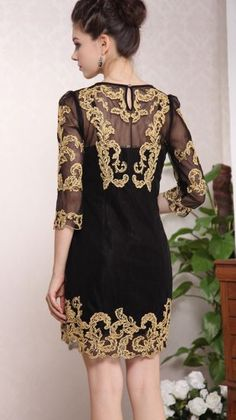 #SheInside Black Three Quarter Length Sleeve Gold Silk Embroidery Dress - Sheinside.com