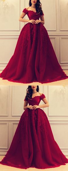 Burgundy A-line Sweetheart Tulle Off The Shoulder Prom Dresses Lace Appliques 2018 Elegant Formal Evening Gowns